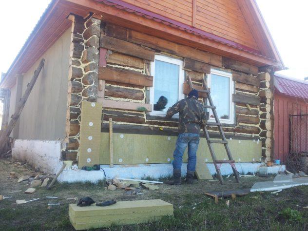 метод мокрого фасада на дом из бревен