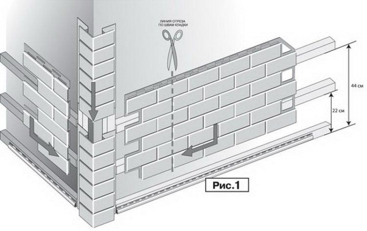 Для монтажа на углах рекомендуется подрезать цокольную панель сайдинга