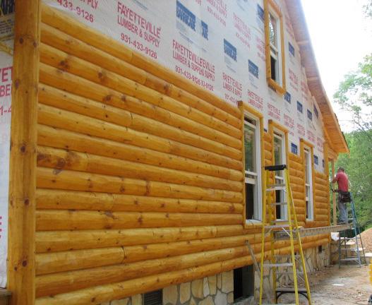 монтаж блок хауса из рубленного бревна