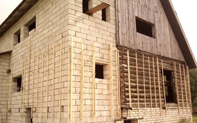 Установка обрешетки для дальнейшего крепления блок хауса