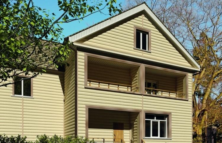 Виниловый блок хаус на фасаде дома