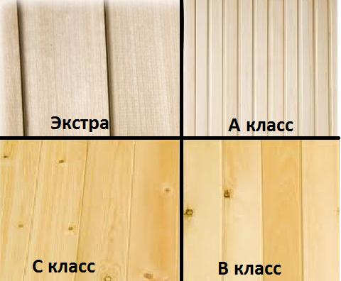 различные сорта имитации бруса