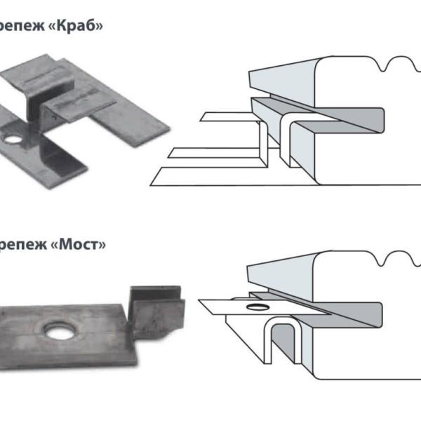 монтаж прямого планкена с пазами выполняется с помощью крепления Краб и Мост
