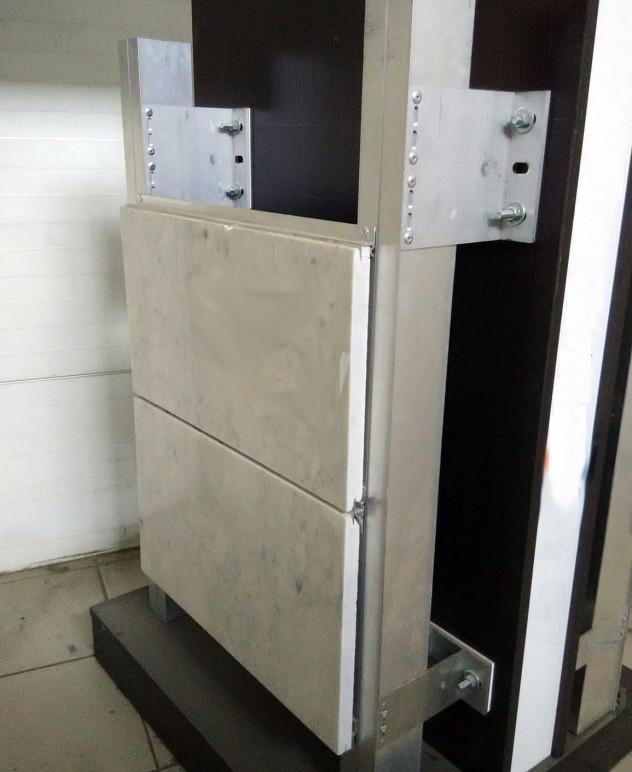 Усиленная система для фасада с применение п-образных, алюминиевых кронштейнов