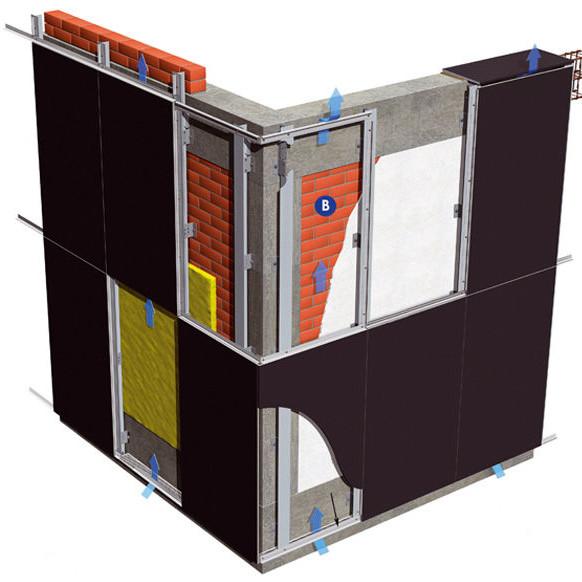 Навесной вентилируемый фасад на стене здания - схематичное изображение