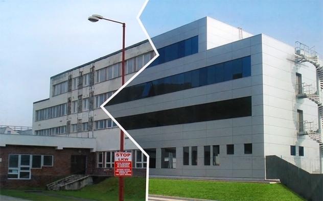 Здание до и после отделки вентилируемыми фасадами