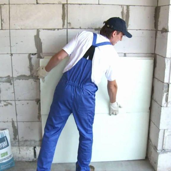 Утепление газобетонной стены при помощи пенополистирола