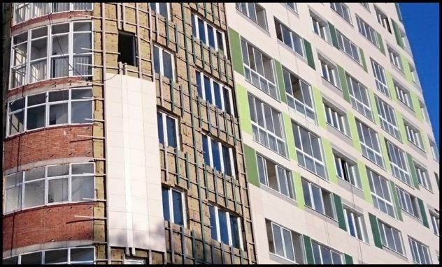 Облицовка фасада керамогранитом с применением оцинкованной подсистемы