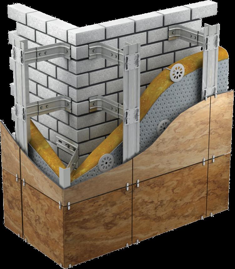 Каркас из оцинкованной стали на который при помощи клямеров монтируется плитка керамогранита