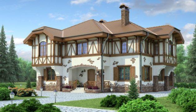Один из распространенных стилей отделки фасада - фахверк