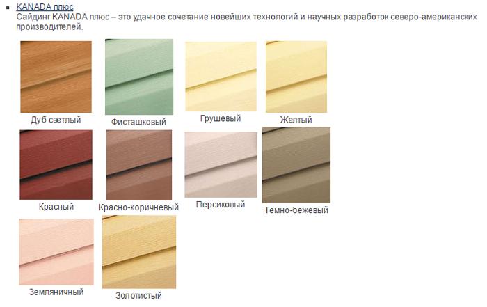 цветовая палитра сайдинга компании Альта профиль
