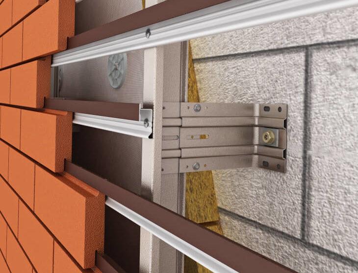 Система вентилируемого фасада с применением клинкерного кирпича